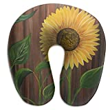 Raglan Carnegie Sunflower Picture Rustic Wood Travel Pillow Memory Foam Neck Support On A Train Airplane Car Bus Or While Camping - Comfortable U Shaped Cushion