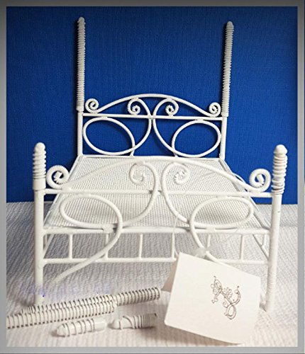 Fairy Garden Fun White Four Poster Bed Dollhouse Miniature Figurine - My Mini Fairy Garden Dollhouse Accessories for Outdoor or House Decor