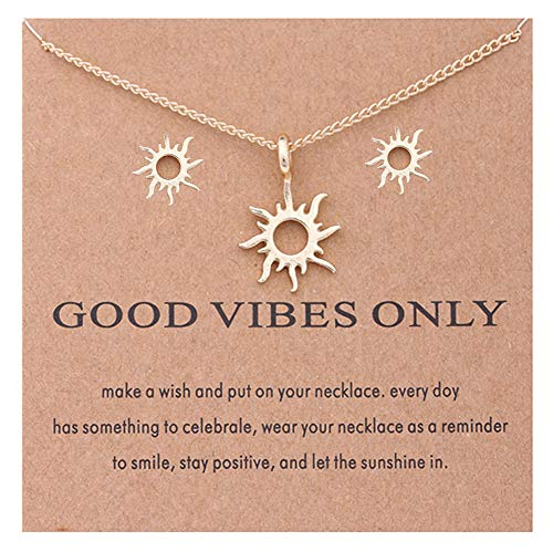 (Eoumy Women Love Sun Earrings Necklace Set Gold Clavicle Chain Necklace Costume Jewelry)