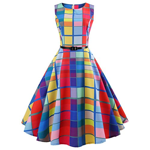 Women Vintage Printing Bodycon Boatneck Sleeveless Retro Tea Dress with Belt (G-Multicolor, L)