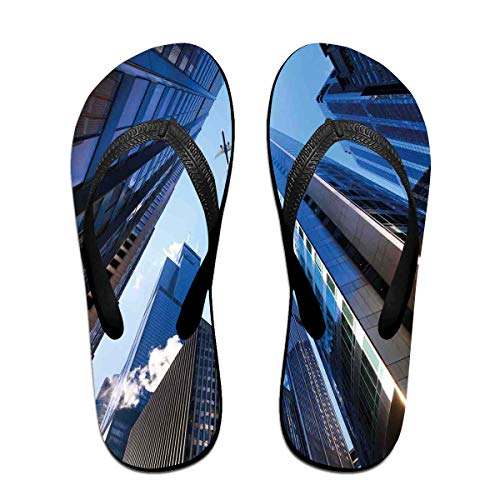 Funny Summer Flip Flop, Looking Up at Chicagos Skyscrapers in Financial District American City PictureFor Children Adults Men and Women Beach Sandals Pool Party Slippers -