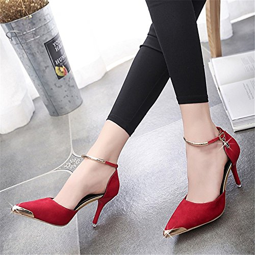 HXVU56546 Durante La Primavera Y El Otoño Luz De Punta Fina Chino Con Tacones Altos Fiesta Nupcial Zapatos Zapatos De Mujer Red