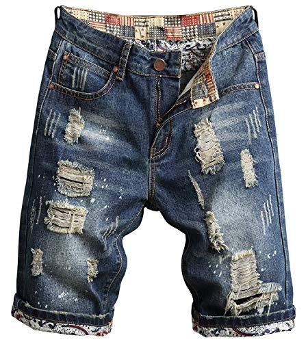 Jeans Mens Distressed - LATUD Men's Moto Biker Jeans Shorts Ripped Distressed Denim Shorts, 779-Blue, US 40 = Tag 42