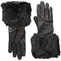 Ted Baker London Women's Emree Faux Fur Cuff Gloves, Black, Small/Medium