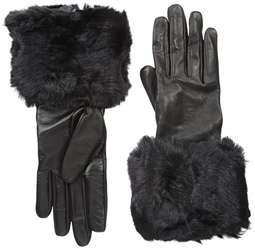 Ted Baker London Women's Emree Faux Fur Cuff Gloves, Black, Medium/Large by Ted Baker
