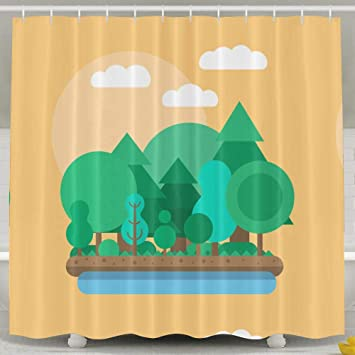 Originality Woods Shower Curtain Repellent Fabric Mildew Resistant Machine Washable Bathroom Anti Bacterial Polyester Liner