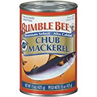 BUMBLE BEE Chub Mackerel, Canned Fish, Canned Mackerel, High Protein Food, Gluten Free Food, Canned Food, Bulk Canned Fish, 15 Ounce Cans (Pack of 12)