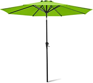 Deponel Patio Umbrella,11ft Market Table Outdoor Umbrellas with Push Button Tilt and Crank Lift,8 Sturdy Square Ribs(11FT,Apple Green)