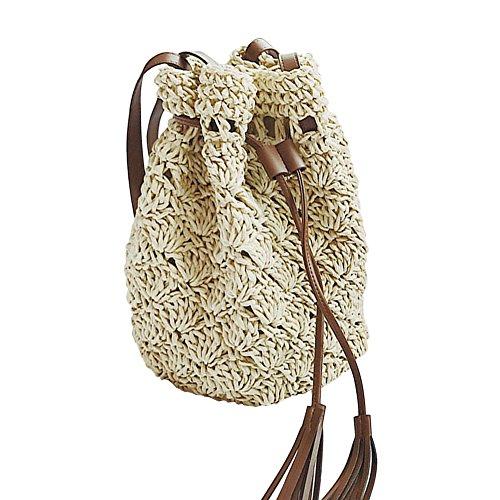 Shoulder YJIUJIU Bucket Woven Drawstring Bag YJIUJIU Small Straw Bag Woven t8P5qwU