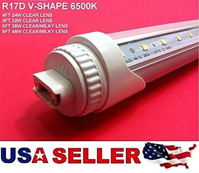R17D V-Shape 4FT 5ft 6ft 8FT 6500k Clear-Milky Lens T8 LED Tube Light Cooler/Freezer.