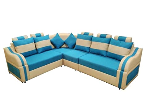 Froster Oak Sofa Wood 6 Seater L Shaped Sofa Set For Living Room
