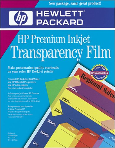 image regarding Printable Transparencies known as HP Quality InkJet Transparency Motion picture 50 Sheets (C3834A)