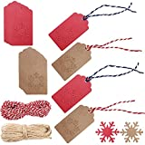 200 Pack Christmas Kraft Paper Gift Tags, Snowflake-Shaped, with 40 Meters - 131 Feet Natural Jute Twines, SENHAI Holiday Hang Labels - Red, Brown