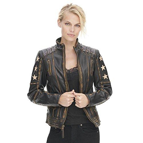 Black Rivet Adult Plus Size Distressed Stars and Stripes Center Zip Leather Jack