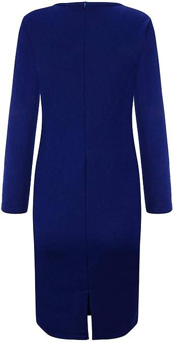 Goosuny elegancka sukienka biznesowa damska sukienka ołÓwkowa 3/4 rękaw etui ołÓwek sukienka z okrągłym dekoltem do kolan sukienka vintage bodycon sukienka na imprezę: Odzież