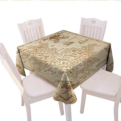 Island Square Tablecloth Old Ancient Antique Treasure Map with Details Retro Color Adventure Sailing Pirate Print Farmhouse Tablecloth 50