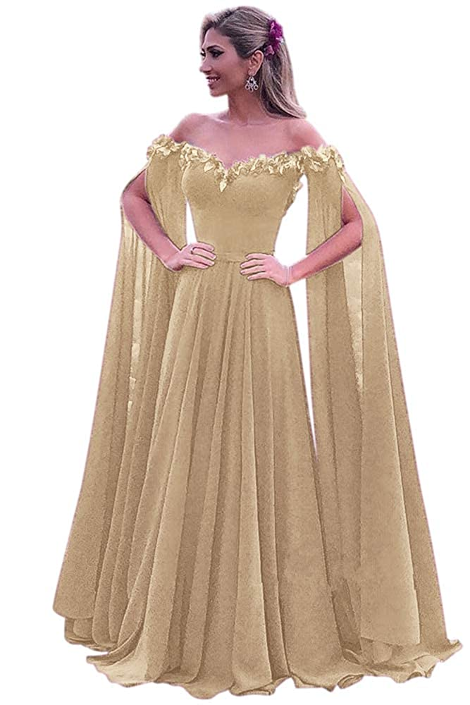 Champagne Harsuccting Elegant 3D Flower Long Sleeve Corset Evening Prom Dress