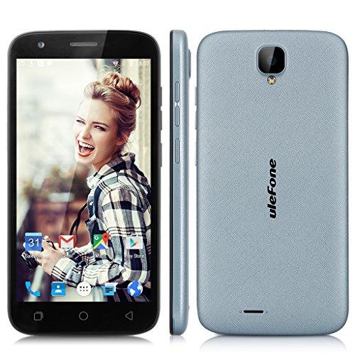 Ulefone U007 5.0 Zoll 3G-Smartphone Android 6.0 ohne Vertrag HD Display Dual SIM Quad Core 8.0 MP+2MP Dual Kamera 1G RAM+8G ROM Handy Air Gestures Wifi GPS Grau