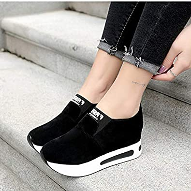 Pophight Women Creepers Autumn Increasing Height Shoes Casual Slip On Moccasins Platform Wedge Heel Fashion Elastic Band Footwear