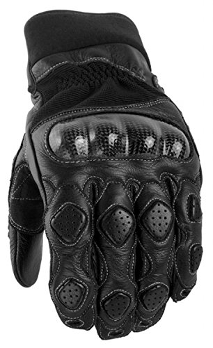 Power Trip Mens Grand National Leather Motorcycle Gloves Black Large L