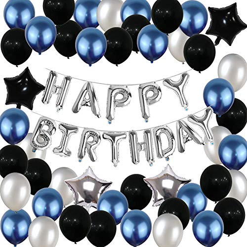 Birthday Decorations,Yoart Birthday Party Supplies Happy Birthday Balloons Banner Blue and Silver Black Party Decorations for Women Men(69PCS)