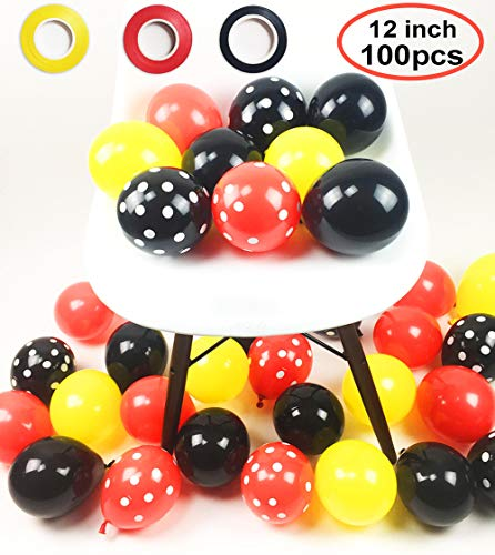 100 Pack Mickey Mouses Balloons, 12 Inch Latex Balloons Red Black Yellow Polka Dot Balloons Mickey Color Balloons Kit for Baby Birthday Baby Shower Mickey Mouses Theme Party Supplies -
