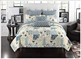 Fancy Collection 3pc Queen Size Quilted Bedspread Coverlet Set Embossed Floral Blue Off White Green Beige New