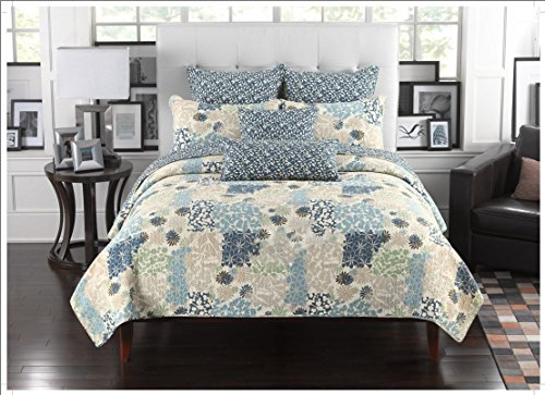 (Fancy Collection 3pc California King Quilted Bedspread Coverlet Set Embossed Floral Blue Off White Green Beige New)