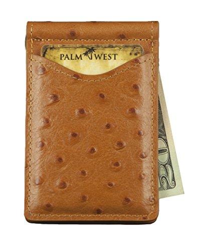 Palm West Leather RFID Blocking Slim Billfold Genuine Leather Minimalist Front Pocket Wallets for Men with Money Clip Natural Ostrich - Wallet Ostrich Mens