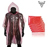 Forbidden Road Poncho with Hood 5 Pack (One Size Fit All) Emergency Disposable Rain Poncho Cover Raincoat Lightweight Super Waterproof for Camping Hiking Backpacking Traveling Fishing Outdoor
