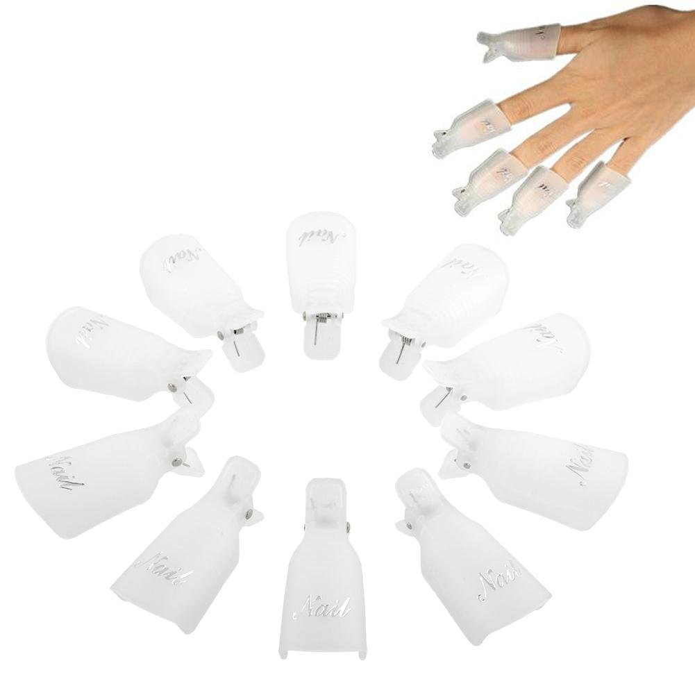 Professional 10pcs Durable Reusable Plastic Nail Art Polish Soak Off Remover Wrap Cleaner Clip Cap Tool (White)