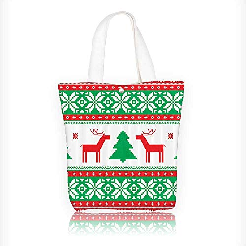 Canvas Tote Bags Knit Style Reindeer Star Snowflake Holi Seas mily Home Design Your Own Party Favor Pack Tote Canvas Bags by Big Mo's Toys W16.5xH14xD7 INCH ()