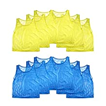 Nylon Mesh Scrimmage Team Practice Vests Pinnies Jerseys for Children Youth Sports Basketball, Soccer, Football, Volleyball (12 Jerseys) by Super Z Outlet