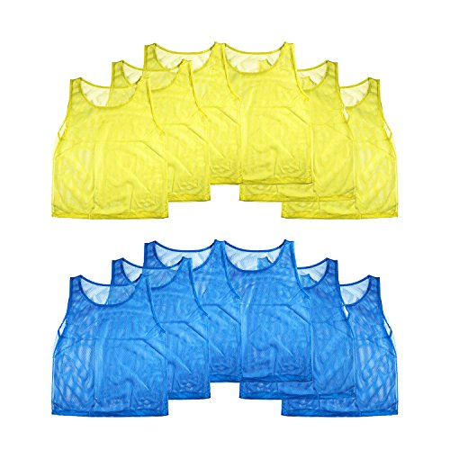 Nylon Mesh Scrimmage Team Practice Vests Pinnies Jerseys for Children Youth Sports Basketball, Soccer, Football, Volleyball (12 Jerseys) (Jersey Outlets)