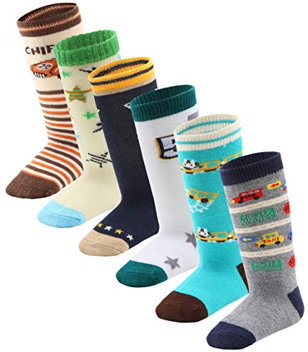 Toddler Boy Non Skid Socks Knee High Cotton with Grips, Baby Boys Anti-skid Socks (3-5 Years, 6 Pairs) (Grip Socks Knee High)