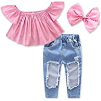 1-7Yrs Kid Baby Girls Ruffle Tops + Big Hole Jeans Cool Girl Clothes 2pcs/Set
