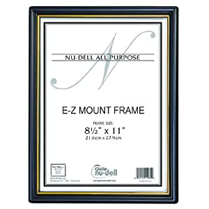 """NuDell (3) 8.5"""" x 11"""" Economy EZ Mount Document Frame with Plastic Face VALUE PACK, Black w/ Gold Trim"""
