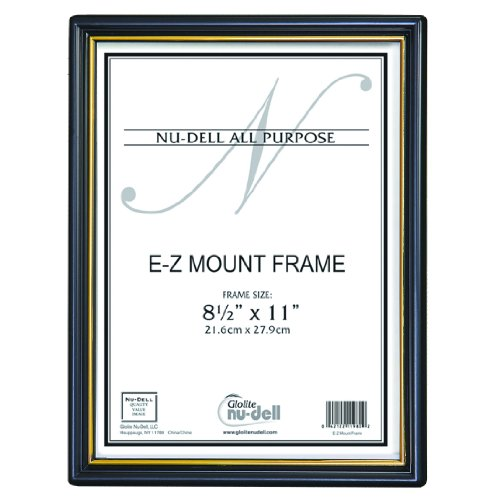 NuDell (3) 8.5'' x 11'' Economy EZ Mount Document Frame with Plastic Face VALUE PACK, Black w/ Gold Trim by Nudell