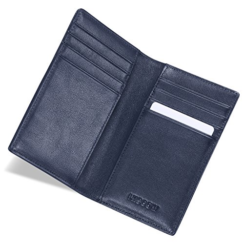 HISCOW Bifold Credit Card Holder with 8 Slots - Italian Calfskin (Navy Blue)