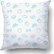 Soksar Throw Pillow Cover Fitness Pattern Pattern With Blue Fitness Ic White Home Sofa Decor Square 18x18 Inch Zipper Cushion Decorative Print Pillowcase Design Two Side