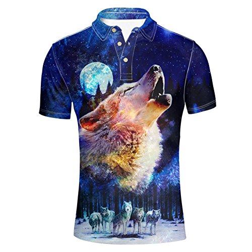 HUGS IDEA Cool Wolf Men's Fashion Golf Jersey Polos Shirt Summmer Casual Animal Graphic Short Sleeve Collar 4 Button Up T-Shirts Tops ()