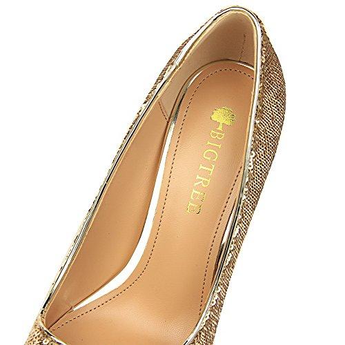 on calzature Dei Talloni Aguzza Pompe Punta Femminile Oro Paillettes Solido Weenfashion Pull 1aTdqB1