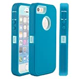 i phone 5s case light blue - iPhone 5S Case,iPhone SE Case,Fogeek Heavy Duty PC and TPU Combo Protective Defender Body Armor Case for iPhone 5S,iPhone SE and iPhone 5 with Finger Print Function(Light Blue/Tea Blue)