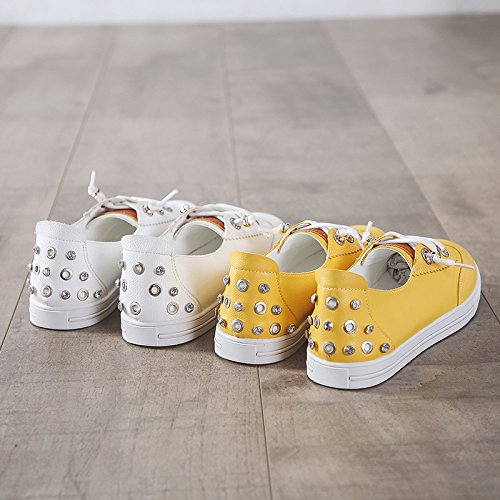 KPHY Pretty/Zapatos de mujer/Mujer Naturaleza Ocio Cabeza Redonda Verano Frenillo Junta Zapatos Bizcocho Inferior Remaches Maternidad Zapatos. white