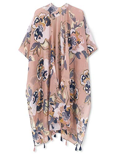 Moss Rose Women's Beach Cover up Swimsuit Kimono Cardigan with Bohemian Floral Print (Dusty Pink Garden)