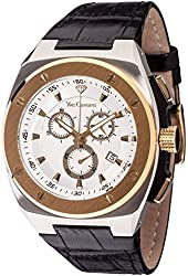 Yves Camani Quentin Men's Quartz Watch Bicolor Chronograph YC1072-C Leather Strap