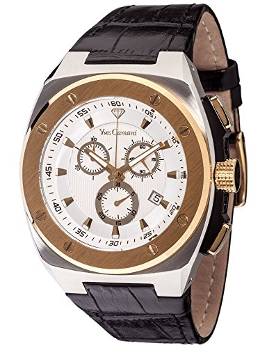 Yves Camani Men s Leather Chronograph Watch with Date Display