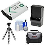 Essentials Bundle for Sony Action Cam HDR-AS50, AS200, AS300, FDR-X1000V & X3000 Camcorder with NP-BX1 Battery & Charger + Case + Flex Tripod + Accessory Kit