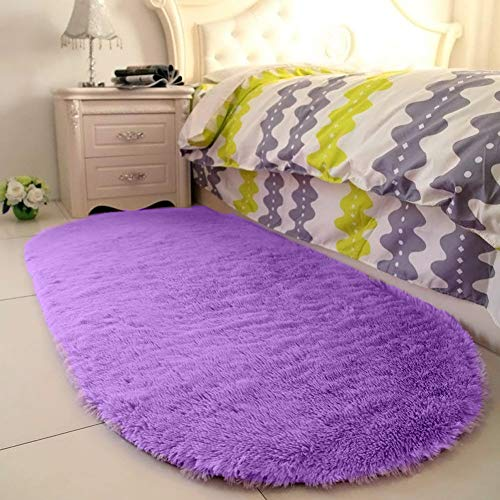 YJ.GWL High Pile Soft Shaggy Rug Purple Fluffy Area Rugs for Bedroom Girls Room Anti-Slip Nursery Rug Carpets Lavender Room Decor 2.6' X 5.3' ()