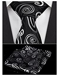 Paisley Men's Black Necktie Pocket Square Classic Jacquard Woven Neck Ties Gift Box ciciTree
